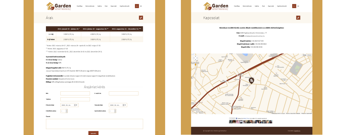 Honlap referencia Garden Apartmanház