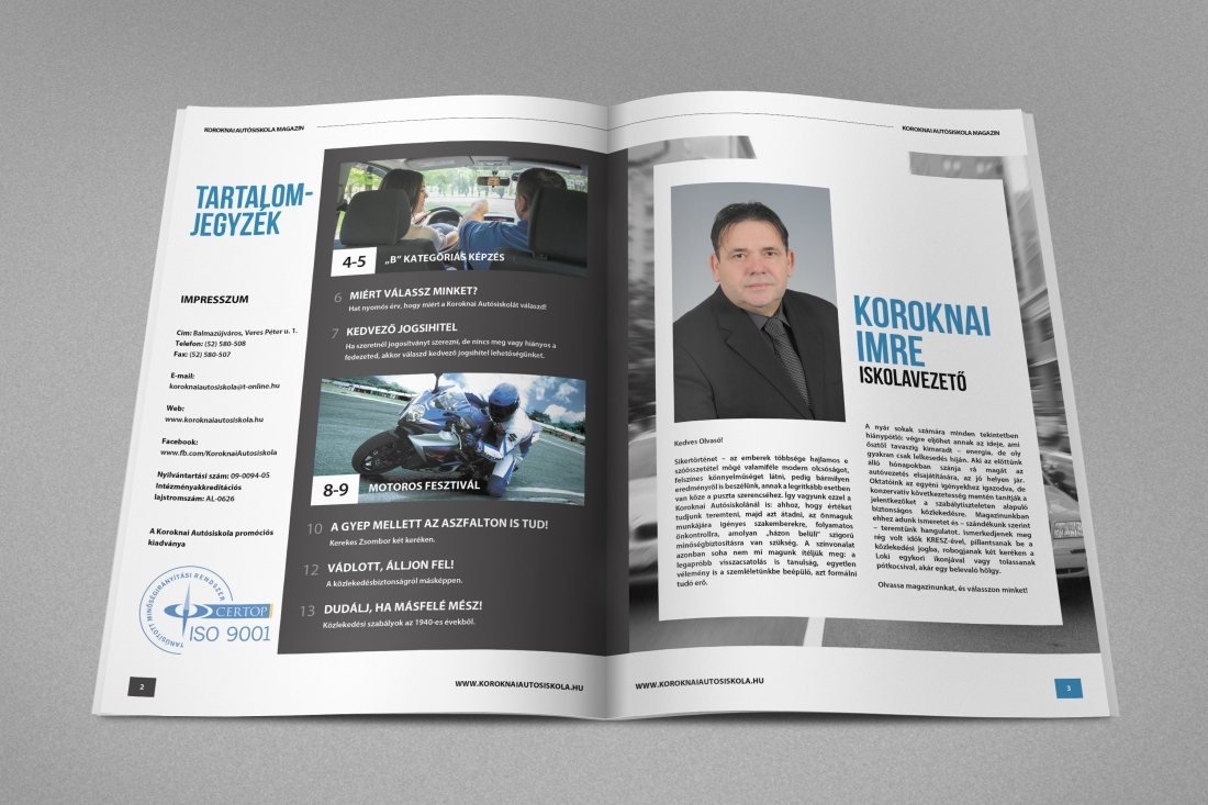 Honlap referencia Koroknai Autósiskola magazin 4. kiadás